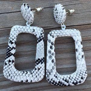 White Python Snake faux leather dangle earrings